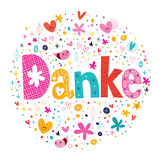 Danke - Thanks in German. Decorative lettering design Stock Image