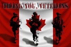 DANKE VETERANE vor dem hintergrund der kanadischen Flagge mit Soldaten stock abbildung