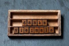 Danke vielmals Tacka dig mycket eller stort tack i tysk översättning Tappningasken, träkuber formulerar skriftligt med arkivfoto