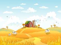 Danksagung autmn Landschaft mit Bauernhof Stockbild