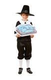 Danksagung: Jungen-Pilger, der Fisch-Zeichnung hält Lizenzfreies Stockbild