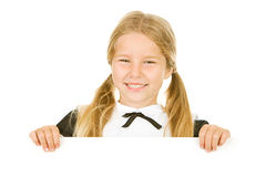 Danksagung: Nettes Pilger-Mädchen schaut über weißer Karte Stockfoto