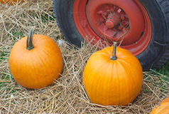 Danksagung oder Halloween-Kürbis und -traktor drehen sich auf Stroh lizenzfreie stockfotos