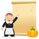 Danksagungs-Pergament mit Pilger-Mädchen Stockfoto