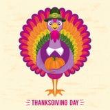 Danksagungs-Tagesgrußkarte mit netter glücklicher Karikatur des Truthahnvogels und -kürbises Stockfotos