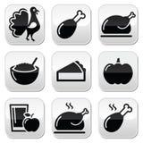 Danksagungs-Tageslebensmittelknöpfe stellten - Truthahn, Kürbiskuchen, Preiselbeersoße, Apfelsaft ein Stockfotografie