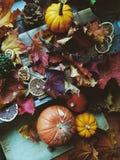 Danksagungshintergrund: Kürbise, Herbstlaub, Orangen und Kegel auf hölzernem Hintergrund Lizenzfreie Stockfotografie
