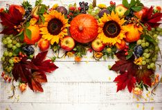 Danksagungshintergrund mit Herbstkürbisen, -früchten und -blumen