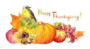 Danksagungskürbis mit Vogel, Blumen, Herbstfrüchte watercolor lizenzfreie abbildung
