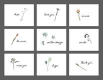 Danksagungspostkarte mit Blumen stockfotografie
