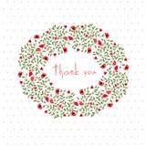 Danksagungspostkarte mit kleinen Blumen Lizenzfreies Stockfoto