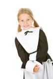 Dankzegging: Glimlachende Meisjespelgrim op Wit Stock Afbeeldingen