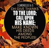 Dankzegging 1 stelt 16:8 te boek Stock Afbeelding