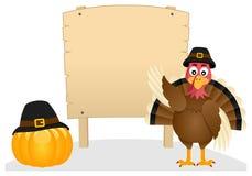 Dankzegging Turkije en Houten Banner Royalty-vrije Stock Afbeelding