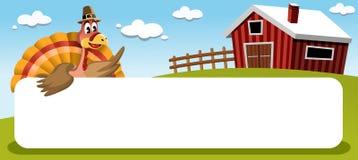 Dankzegging Turkije met Banner in Landbouwgrond Royalty-vrije Stock Foto