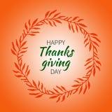 Dankzeggings rond etiket met oranje bladeren Royalty-vrije Stock Afbeeldingen