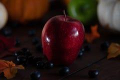 Dankzeggingsachtergrond met pompoenen, appelen en bessen op een bruine lijst stock foto's