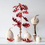 Dankzeggingsdecoratie Minimale de herfst geïnspireerde ruimtedecoratie Selectie van diverse pompoenen op witte plank royalty-vrije stock foto's