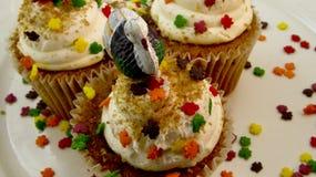 Dankzeggingsdessert Turkije cupcakes Stock Fotografie