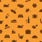 Dankzeggingspictogrammen geplaatst naadloos de herfstpatroon Stock Foto