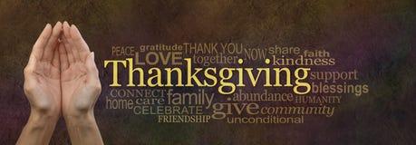 Dankzeggingsword de Banner van de Wolkenwebsite Royalty-vrije Stock Foto