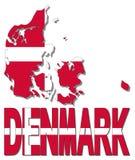 Danmark översiktsflagga och textillustration stock illustrationer
