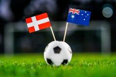 Danmark - Australien, grupp C, torsdag, 21 Juni fotboll, Worl fotografering för bildbyråer