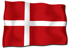 Danmark flag. Computer generated illustration of the flag of Denmark with silky appearance and waves Vector Illustration