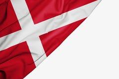 Danmark flagga av tyg med copyspace för din text på vit bakgrund vektor illustrationer