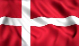Danmark flagga som vinkar i vinden royaltyfri illustrationer
