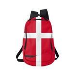 Danmark flaggaryggsäck som isoleras på vit Arkivbild