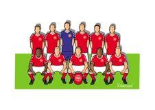 Danmark fotbollslag 2018 stock illustrationer