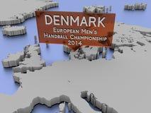 Danmark, le handball des hommes européens Photographie stock libre de droits