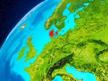 Danmark på jord från utrymme Royaltyfria Foton