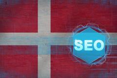 Danmark seo (sökandemotoroptimization) Begrepp för sökandemotoroptimisation royaltyfri illustrationer