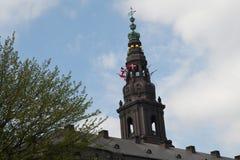 Dannebrog fly over dansh parliament_prince Benediket irthday. Copenhagen/Denmark 29 April 2018_ .Danish state celebrates Princess Benedite bithday today by Stock Image