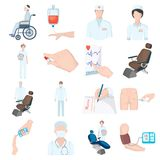 Danneggiato in un passeggiatore, trasfusione di sangue, prova della glicemia, medico, personale medico Icone stabilite della racc illustrazione vettoriale
