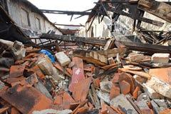 Danno da incendio della costruzione Immagini Stock Libere da Diritti