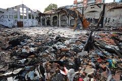 Danno della fabbrica dell'indumento immagini stock libere da diritti