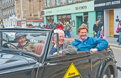 Danny Alexander at election 2015. Lord Wallace of Saltaire and Right Honorable Danny Alexander leaving High Street, Inverness before defeat at the 2015 UK Stock Photography