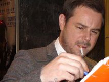 Danny dyer. A picture of  the actor danny dryer when he signed autographs at the uk premiere of the movie DEVIATION in 2012 london Stock Photography