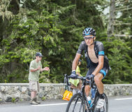 Danny Pate on Col du Tourmalet - Tour de France 2014. Col du Tourmalet, France - July 24,2014: The British cyclist Danny Pate of Team Sky climbing the difficult Royalty Free Stock Photos