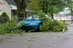 Dano da tempestade do carro e dos membros de árvore fotografia de stock