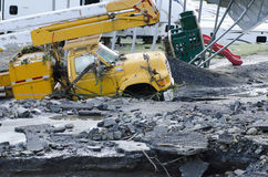 Dano de inundação Berlim Vermont: Furacão Irene fotografia de stock