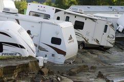Dano de inundação Berlim Vermont: Furacão Irene imagem de stock