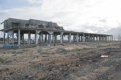 Dano do tsunami em Palu Coastal Area imagem de stock