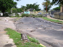 Dano ecológico: as árvores na cidade de Puerto Ordaz, Venezuela, estão sendo reduzidas nos protestos deste sul - país americano M Fotos de Stock Royalty Free