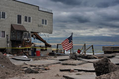 Dano grave nos edifícios na porta de mar, NY Fotografia de Stock