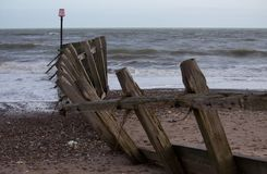 Dano litoral da tempestade em Dawlish Warren Fotografia de Stock