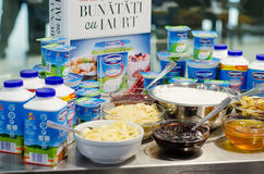 Danone products Royalty Free Stock Photos